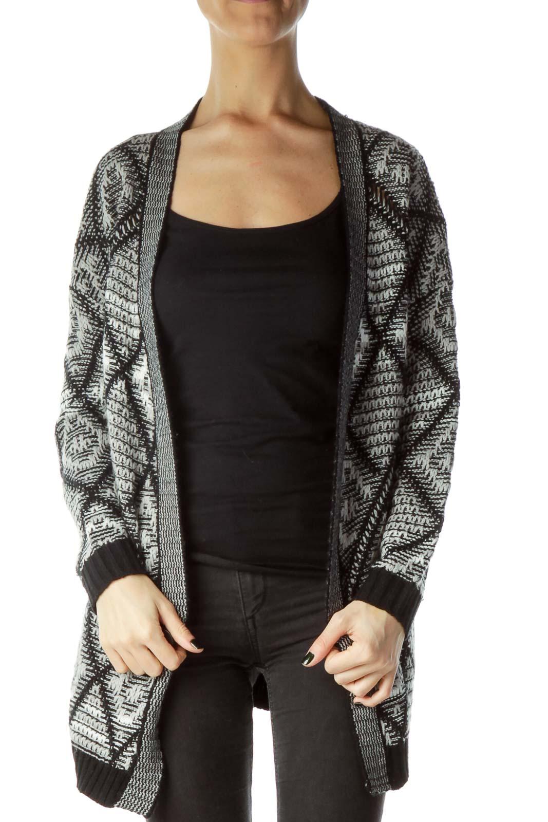 Black Gray Knit Cardigan