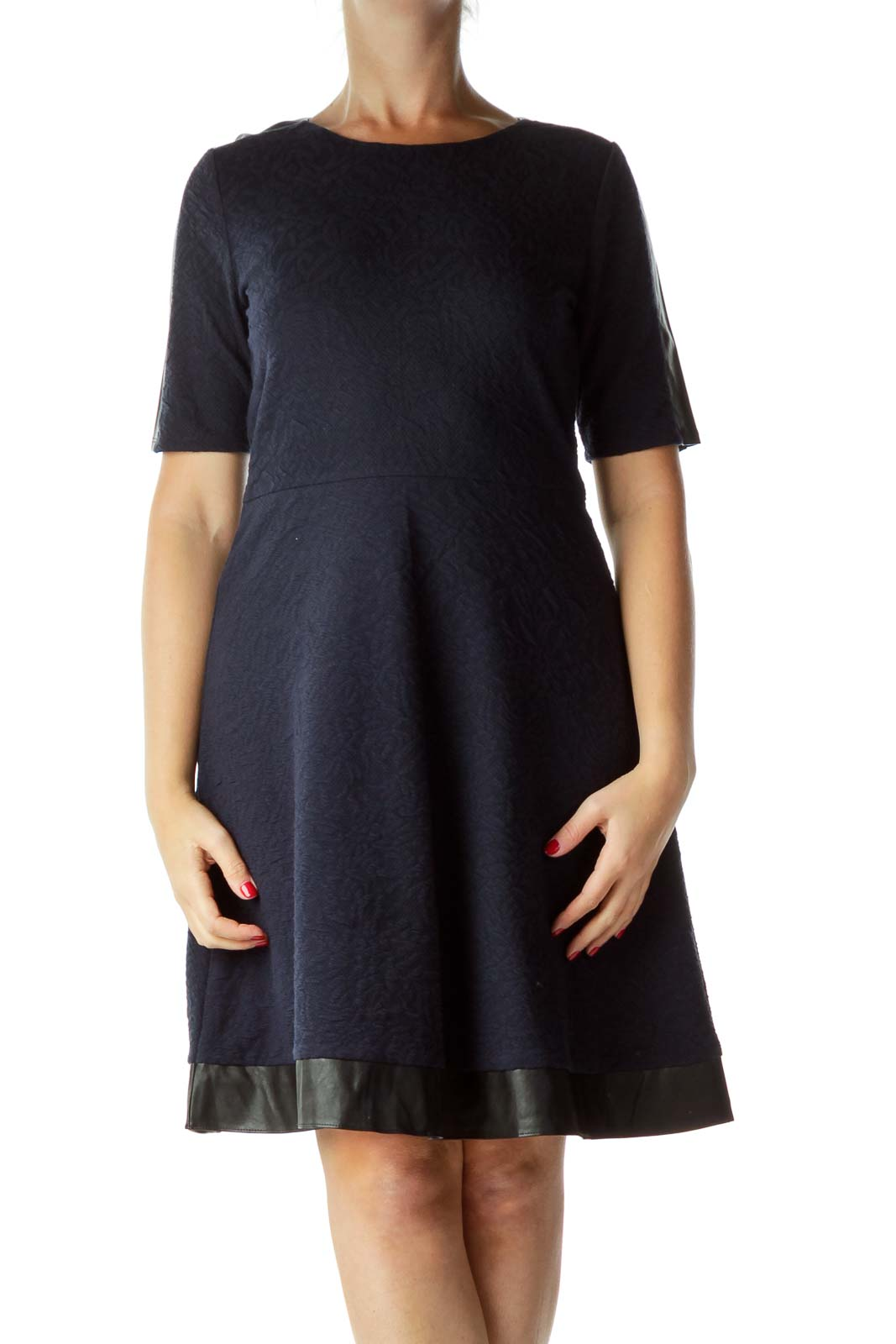 Navy Textured A-Line Dress with Faux-Leather Trim
