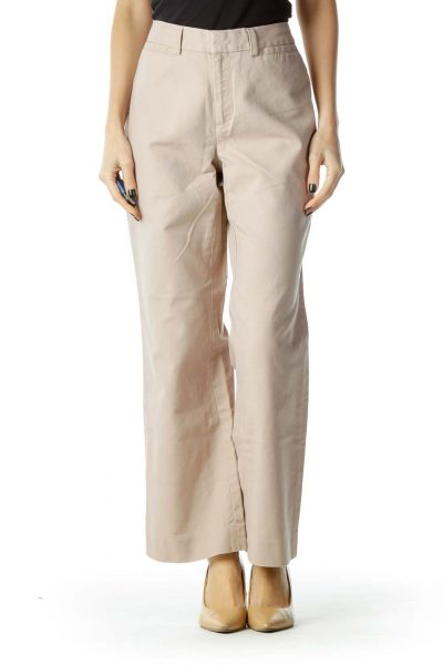 Beige Zippered Straight-Leg Pants