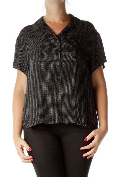 Black Polka-Dot Short Sleeve Blouse