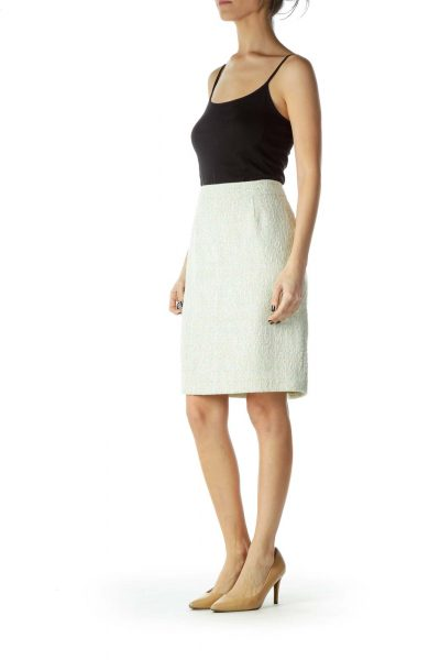 Green White Tweed Pencil Skirt