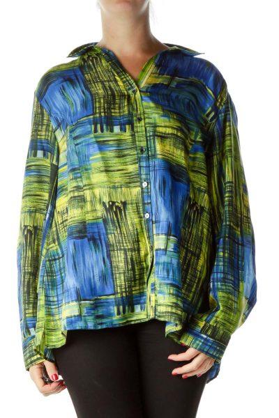 Green Blue Print Silk Shirt