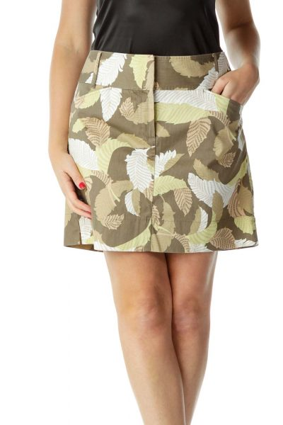 Brown White Leaf Print Mini Skirt