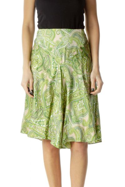 Green Silk Pleated Paisley Print Skirt