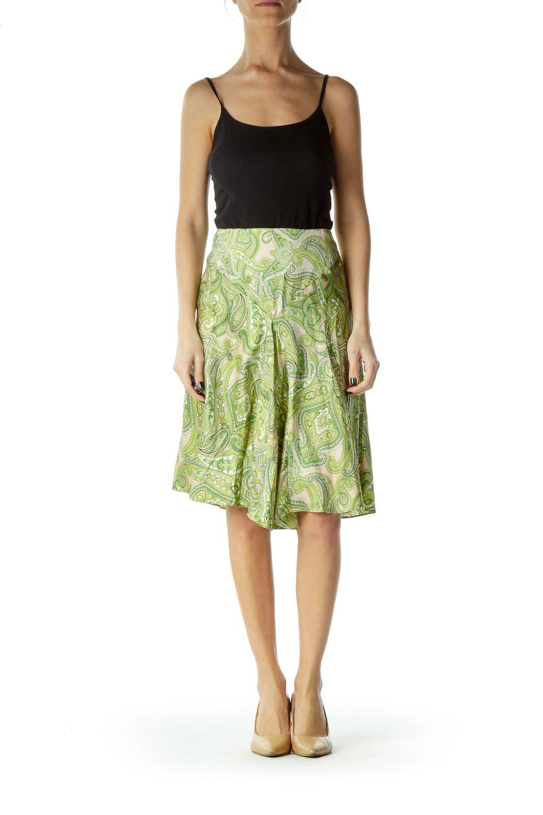 Green Silk Pleated Paisley Print Skirt