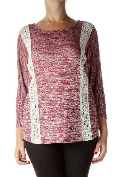 Pink Lace Detail Mottled Shirt