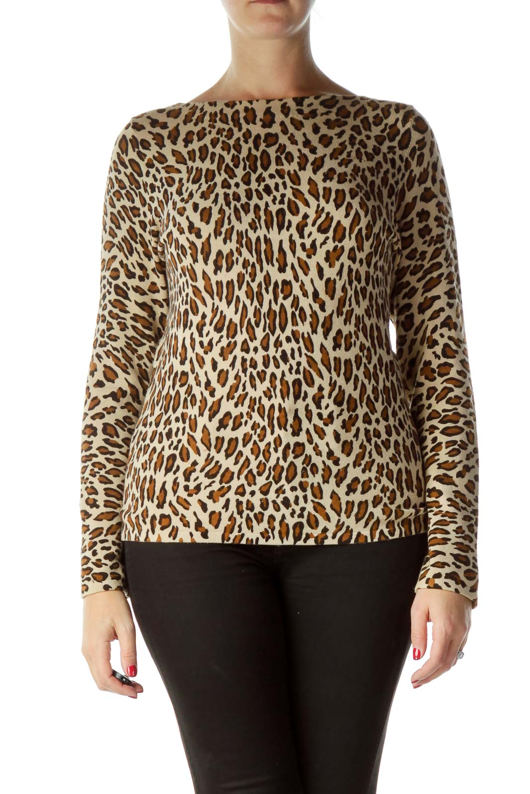 Brown Leopard Print Boat Neck Sweater