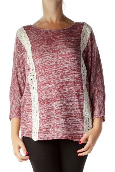 Pink Mottled Lace Detail Knit Top