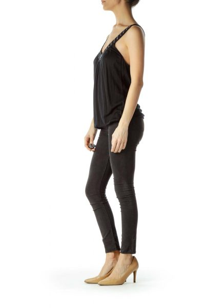 Black Tank with Shiny Neck Detail