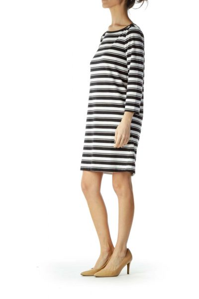 Black White Striped 3/4 Sleeve Knit Dress