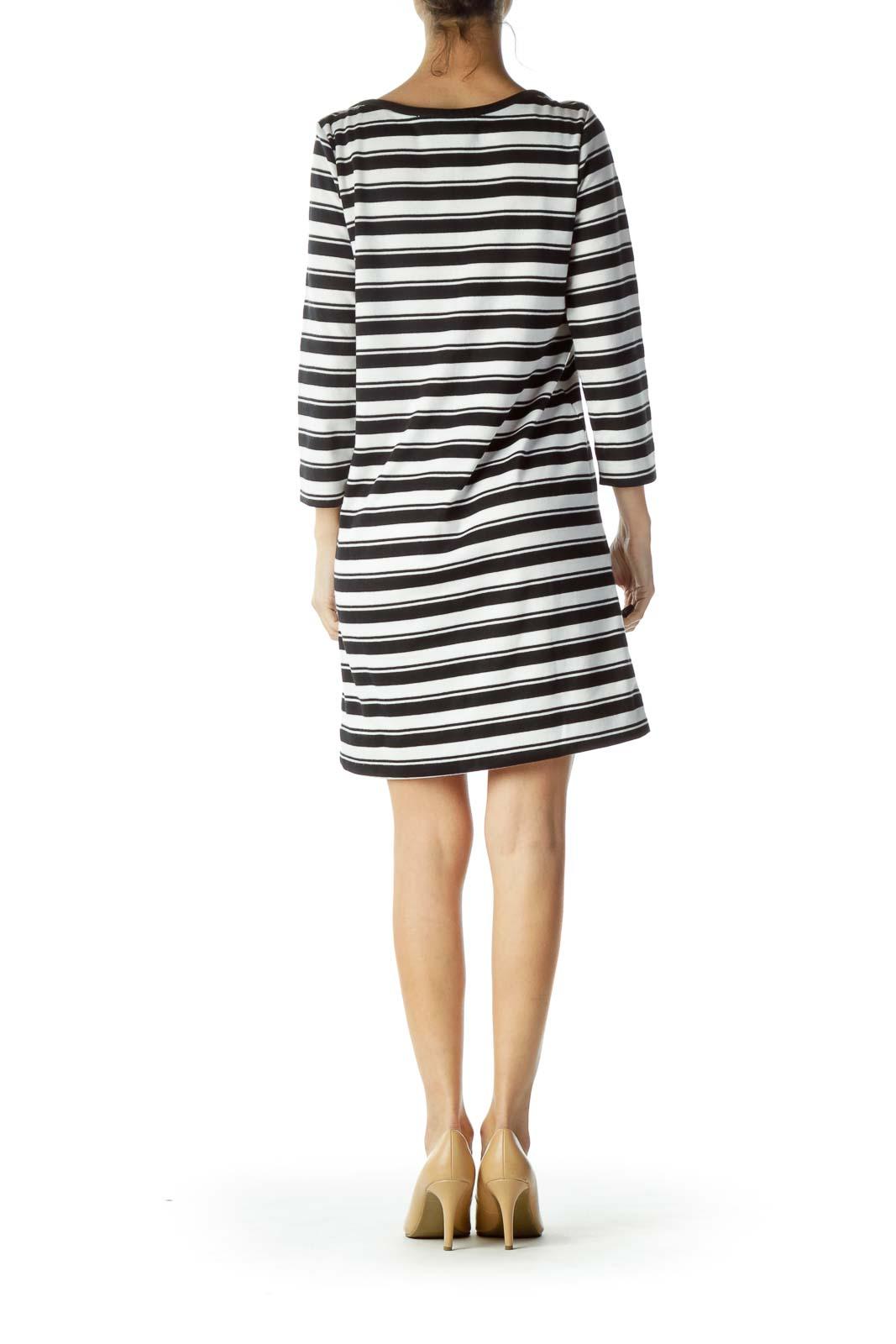 Black White Striped 3/4 Sleeve Knit Dress
