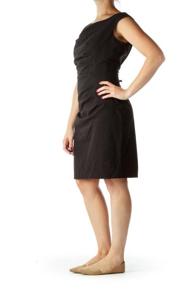 Black Scrunched Work Dress