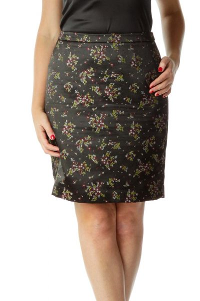 Black Satin Embroidered Mini Skirt