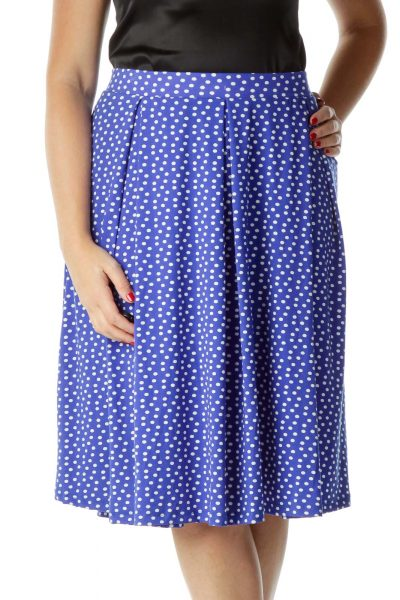 Blue White Polka-Dot Flared Midi Skirt