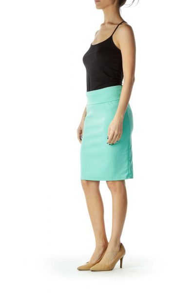 Green Stretch Pencil Skirt