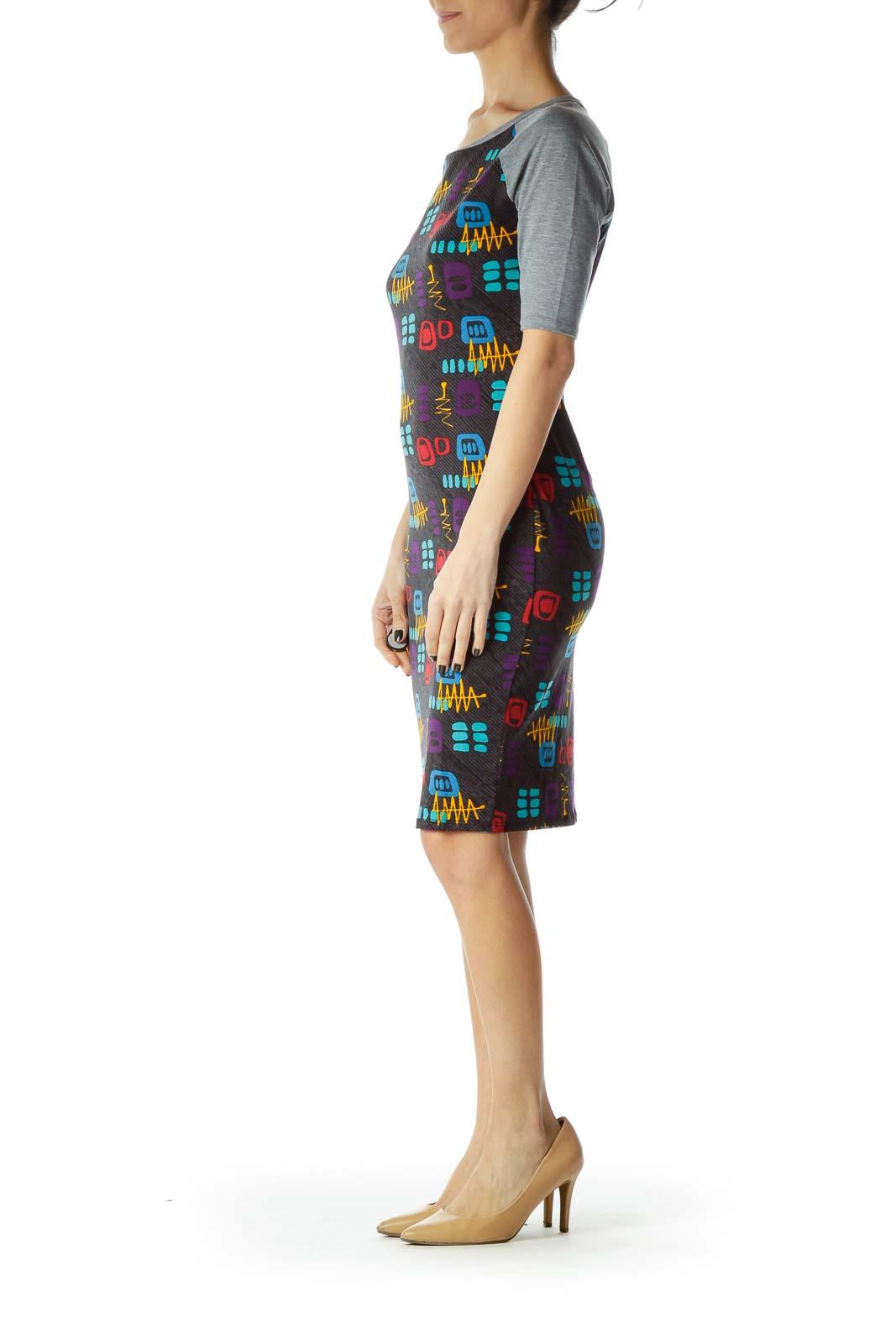 494d81f3694 Shop Black Print Bodycon Dress clothing and handbags at SilkRoll ...