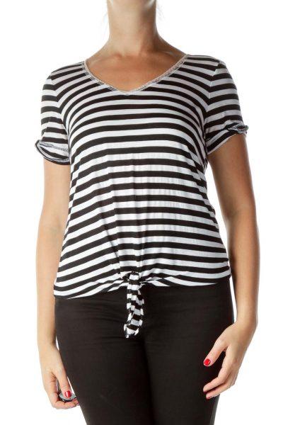 Black Cream Striped T-Shirt with Trim on Neckline