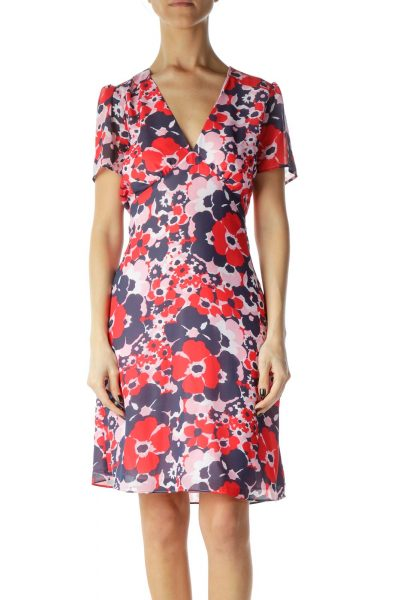 Pink Red Blue Floral Day Dress
