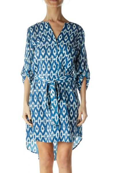 Blue Print Shirt Dress