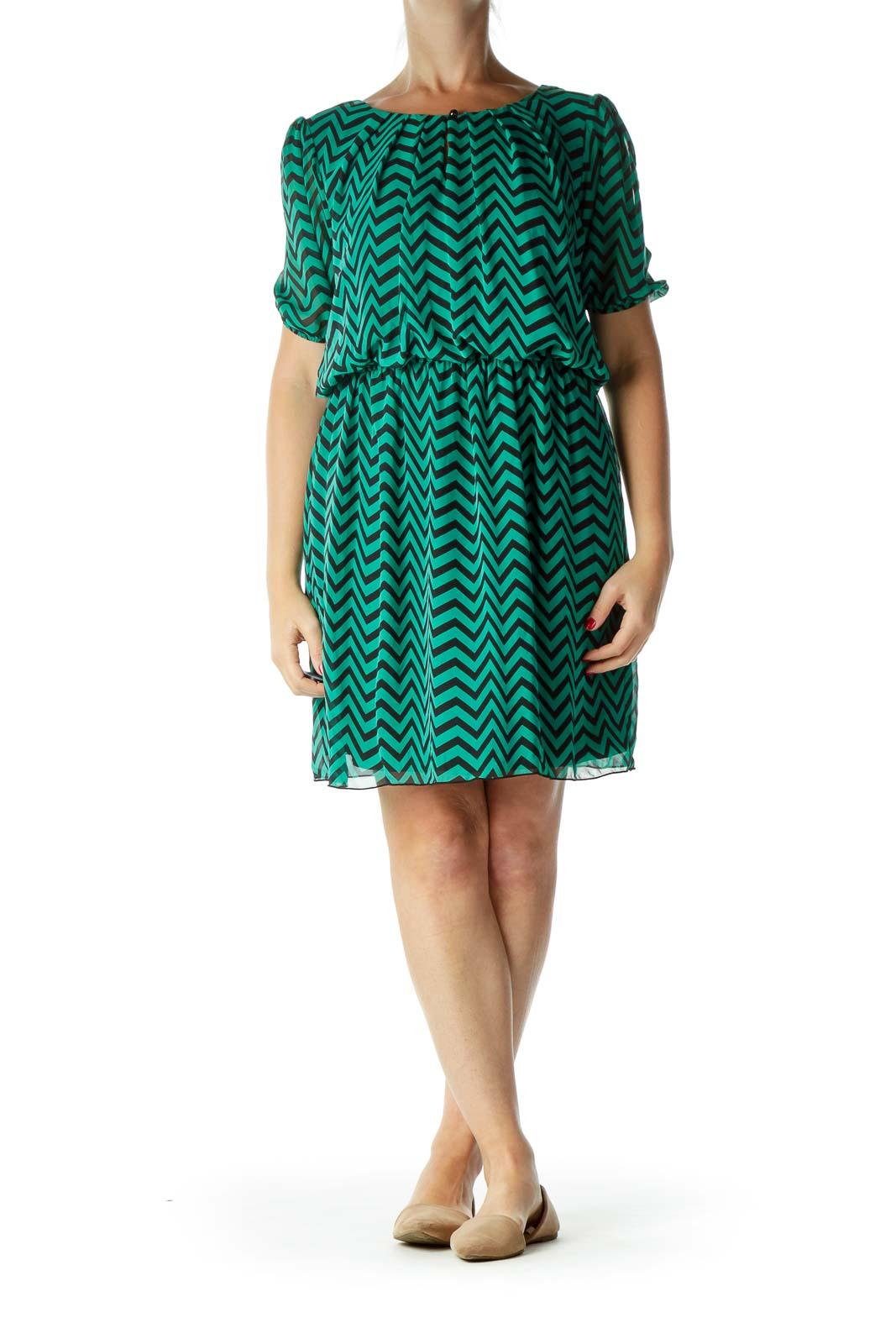 Green Black Chevron Work Dress