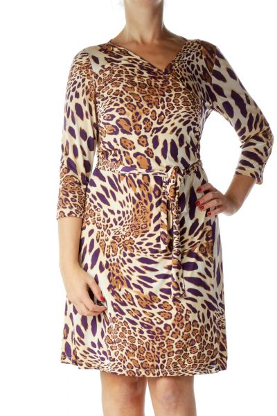 Purple Animal Print Wrap Dress