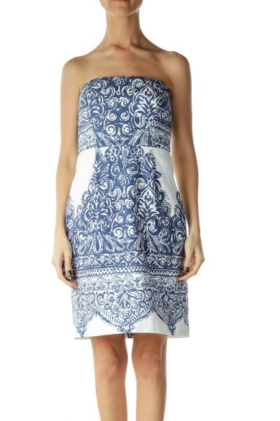 Blue White Print Strapless Dress