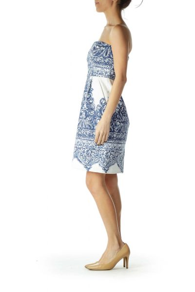 Blue White Print Strapless Dress