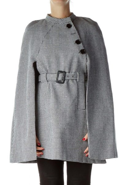 Black Houndstooth Outerwear Cape