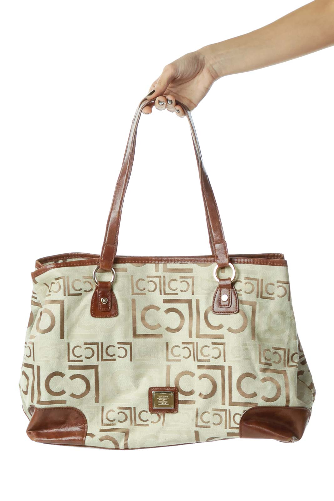 Brown Beige Monogrammed Embroidered Bag