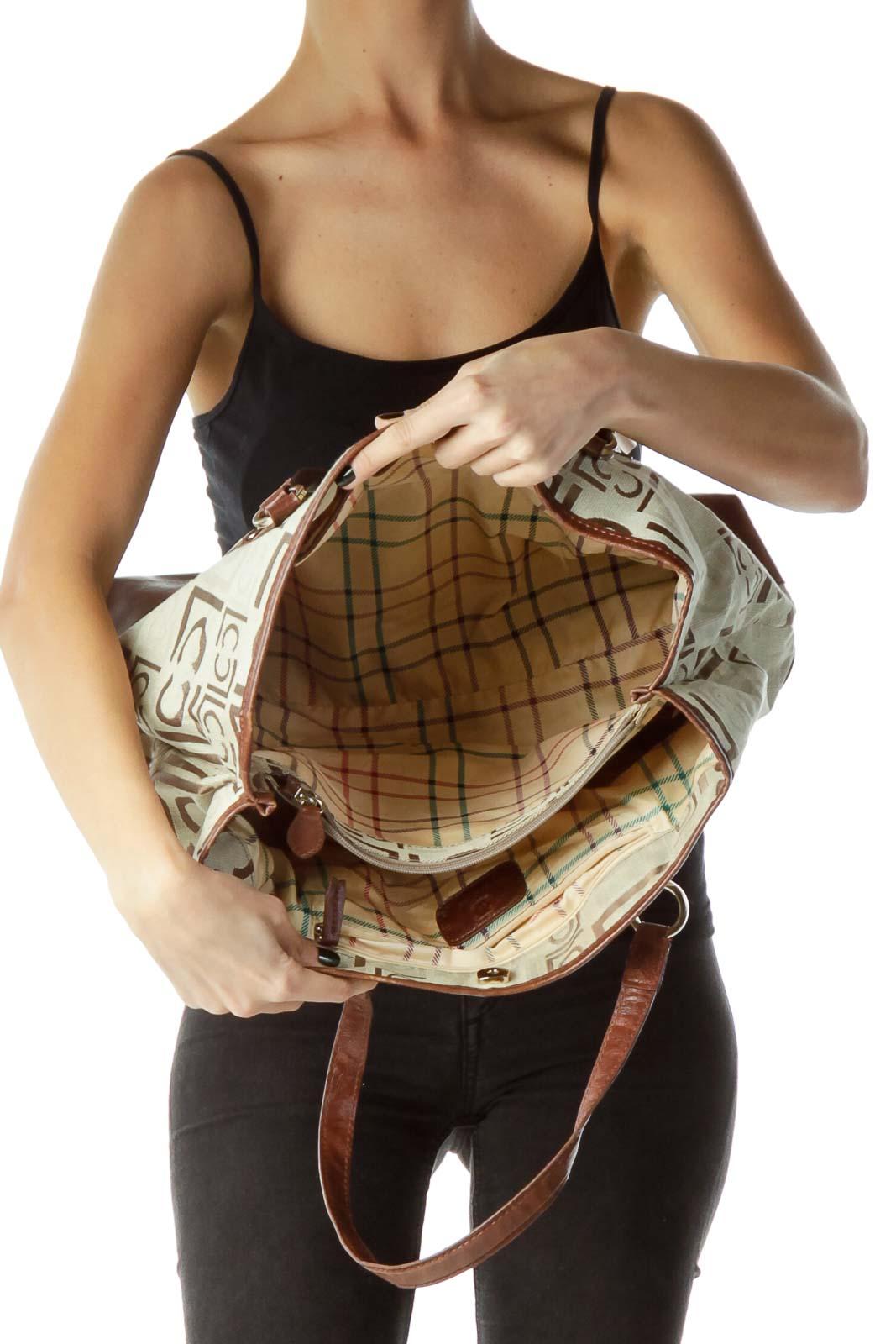 Brown Beige Monogrammed Embroidered Bag