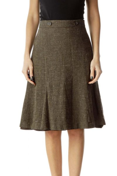 Brown Mottled Flared Skirt