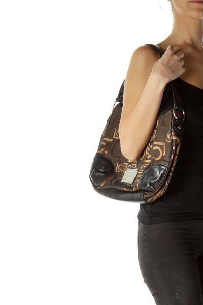 Black Copper Shimmer Embroidered Monogram Bag