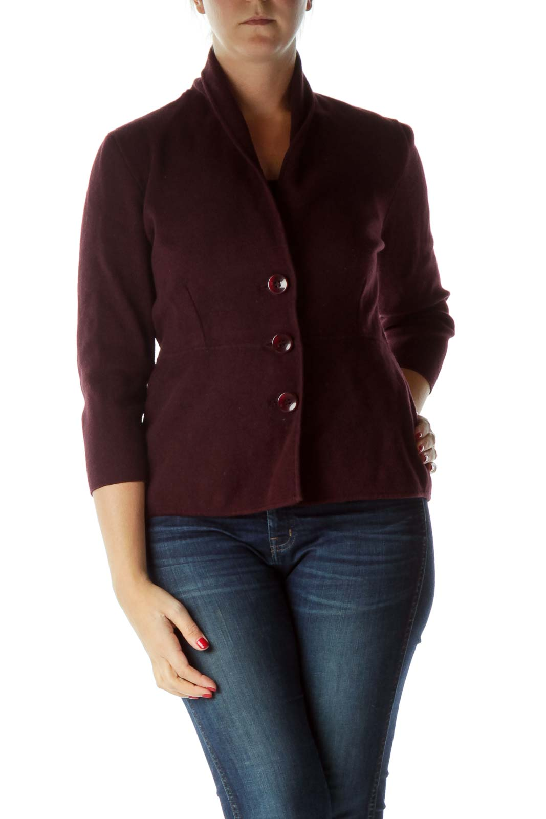 Burgundy Buttoned V-Neck Blazer