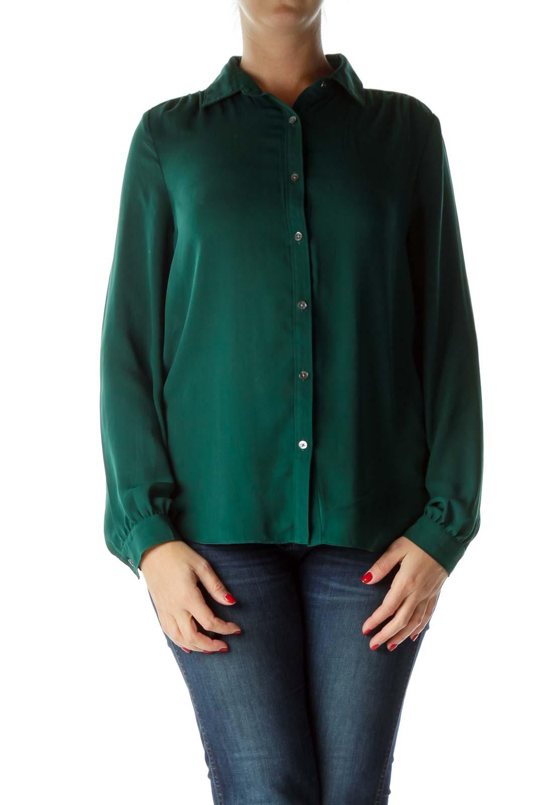Green Buttoned Long Sleeve Shirt