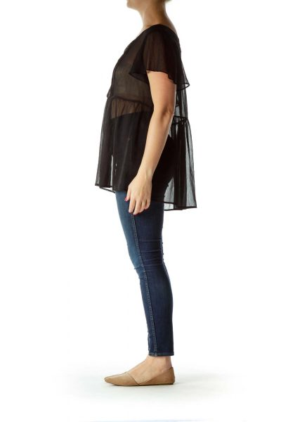 Black See-Through Knitted Flared Blouse