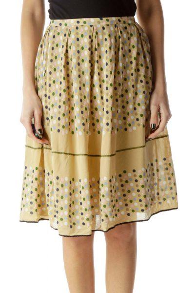 Beige Flared Polka-Dot Skirt