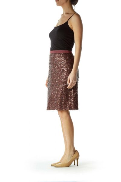 Purple Sequined Pencil Skirt