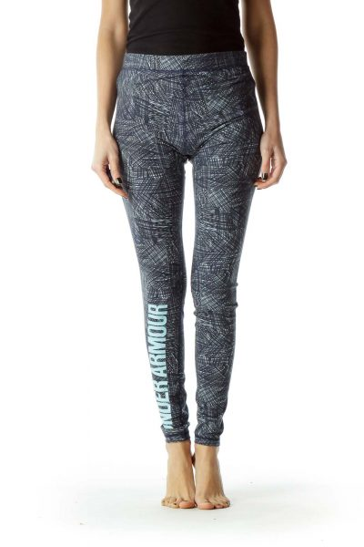 Blue Printed Yoga Pant