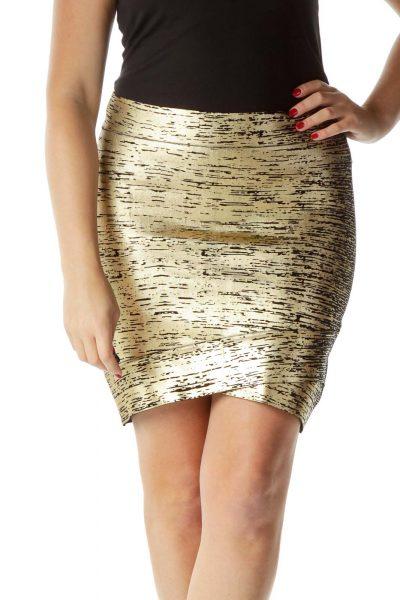 Gold Metallic Print Fitted Mini Skirt