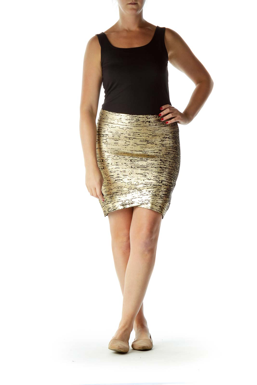 Gold Metallic Print Fitted Mini Skirt