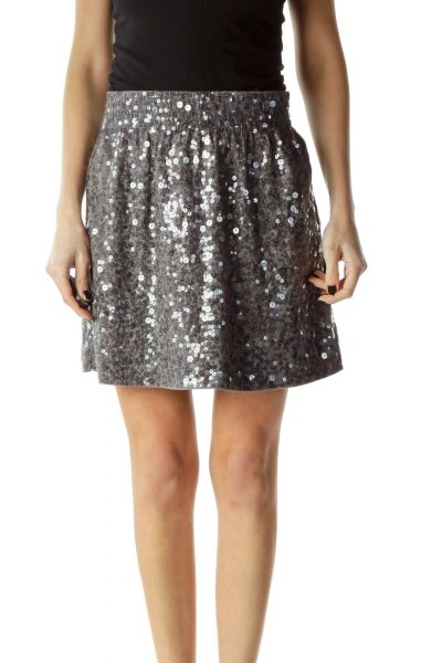 Gray Sequined Mini Skirt