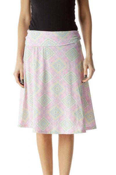 Pink Flared Tribal Print Skirt
