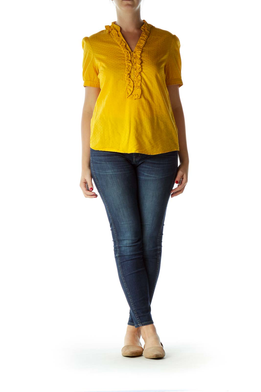 Yellow Buttoned Ruffled Short-Sleeve Blouse