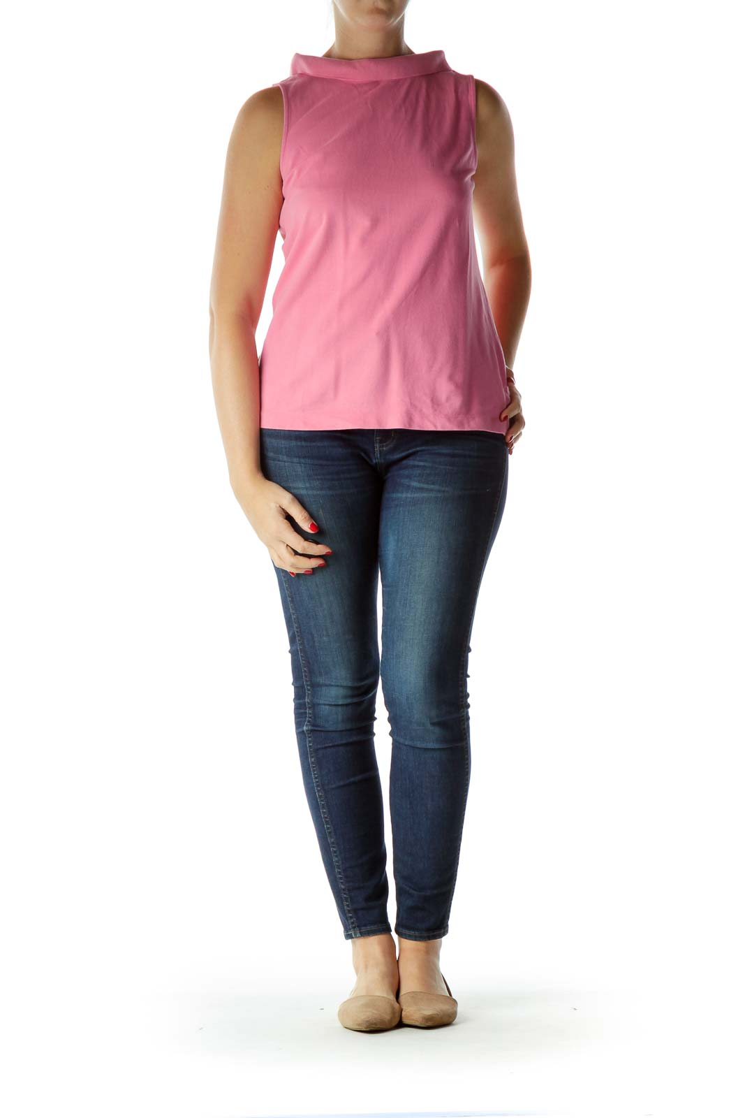 Pink Collared Sleeveless Jersey-Knit Shirt