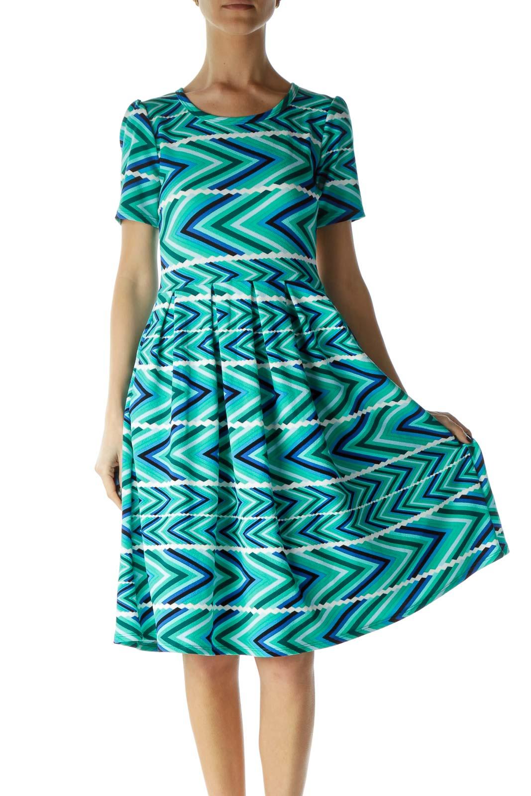 Green Empire Waist Printed Day Dress