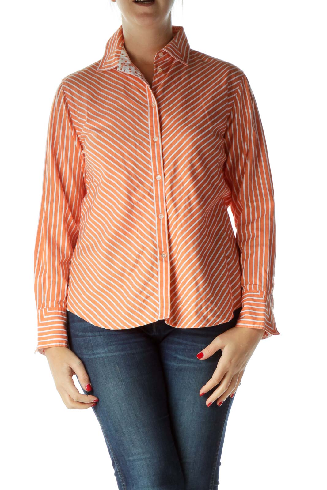 Orange White Collared Buttoned Shirt