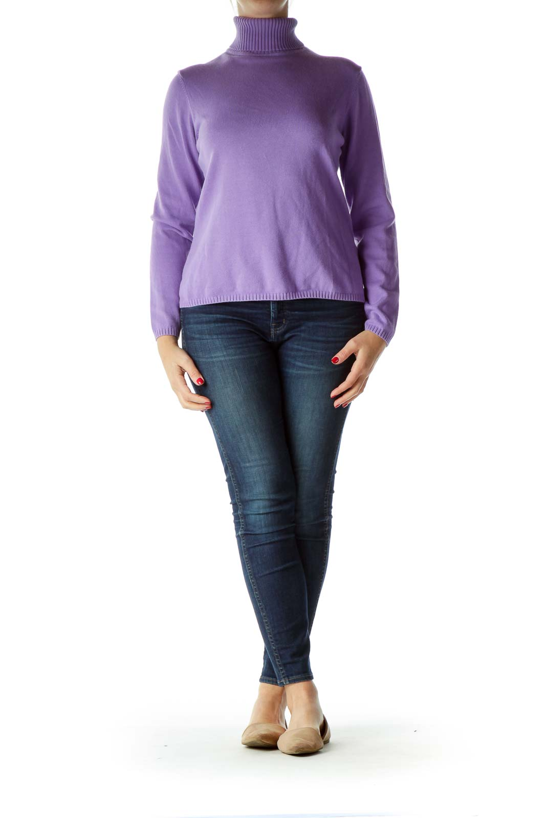 Purple Turtle Neck Long Sleeve Sweater