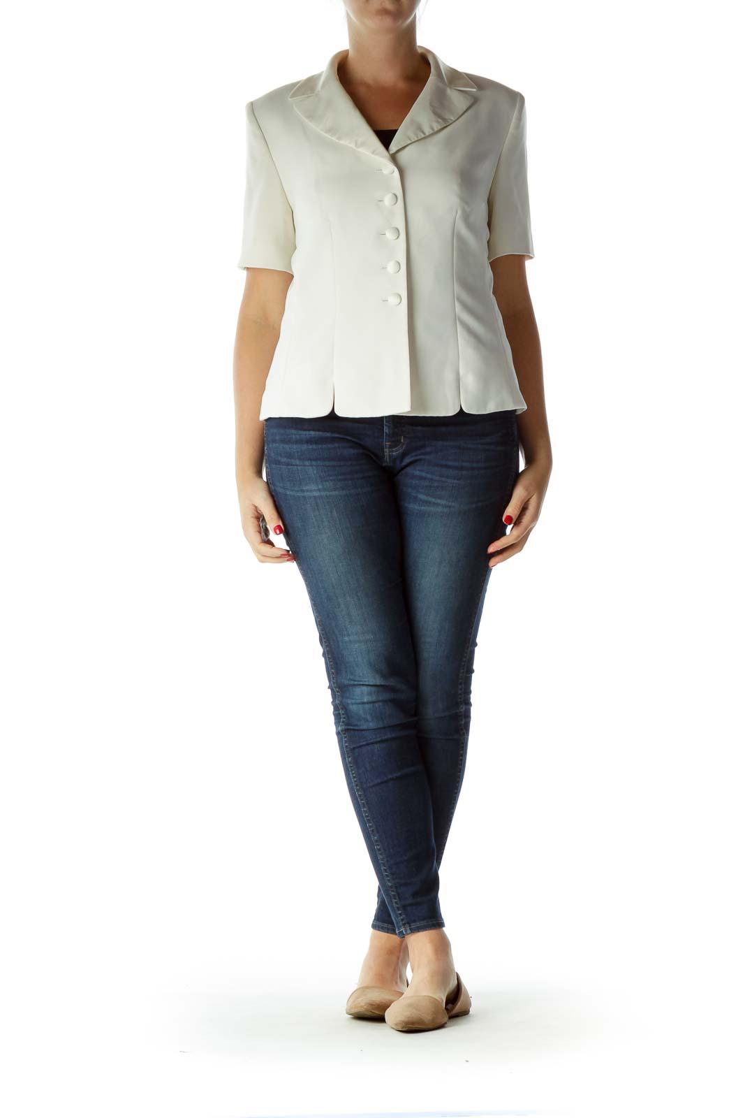 Cream Short Sleeve Suit Jacket