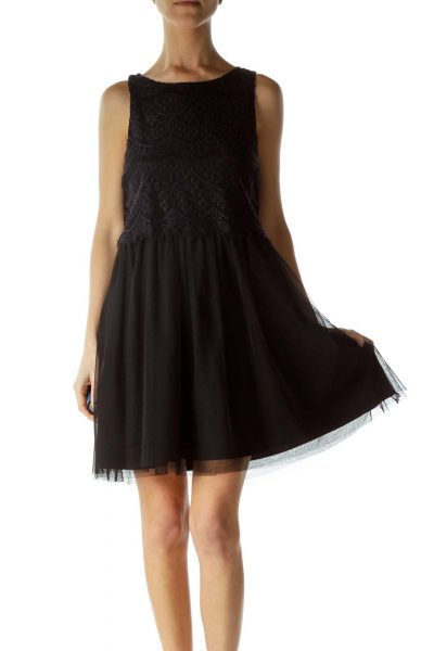 Black Lace and Tulle Cocktail Dress