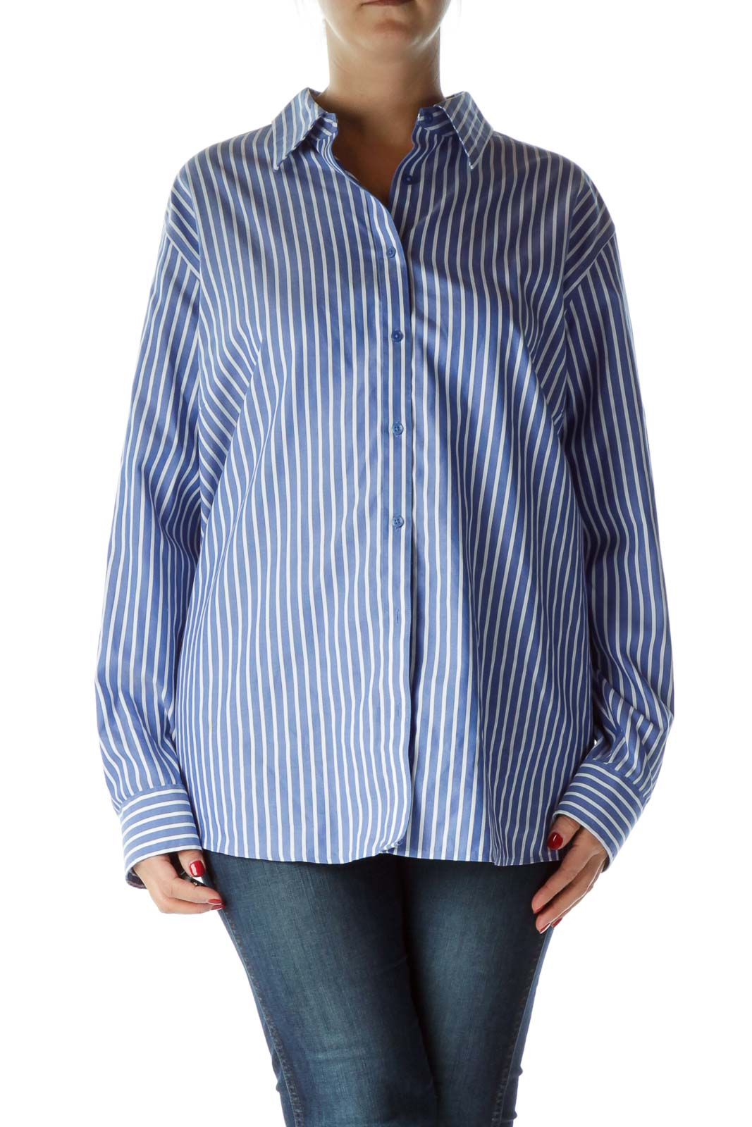 Blue White Pinstripe Collared Shirt